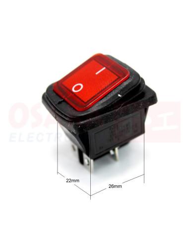 Switch Interruptor Balancín Rojo IP67 4 pines 2 posiciones - vista principal