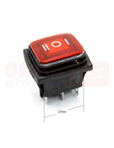 Interruptor Balancín Rojo IP67 6 pines 3 posiciones - vista principal