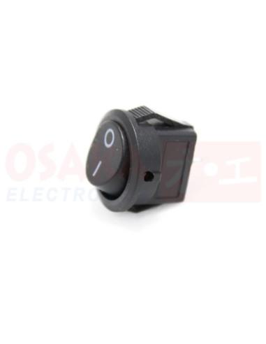 Switch Interruptor Balancín Mini redondo negro 2 posiciones 2 pines - vista frontal