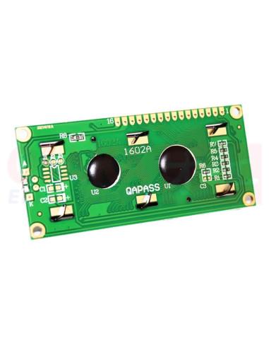 Display LCD alfanumérico 16x2 Backlight verde - vista atras