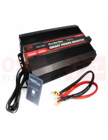 Inversor de Voltaje Onda Seno 12V 2000W - vista principal con accesorios