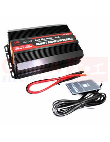 Inversor de Voltaje Onda Seno 12V 1000W - vista principal con accesorios