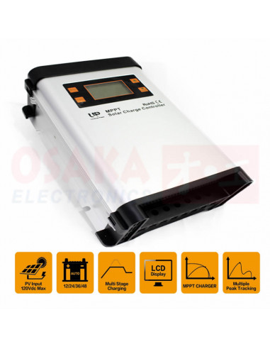 Regulador Controlador Solar MPPT 12V 48V 60A - vista principal